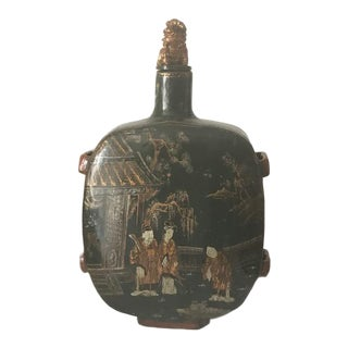 20th Century Chinese Decorated Wooden Bottle For Sale