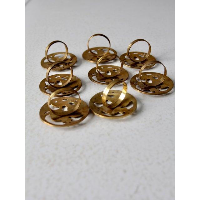 Vintage Brass Napkin Rings - Set of 8 For Sale - Image 4 of 10