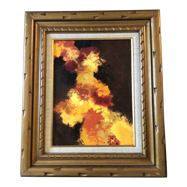 Original Vintage Abstract Nude Painting Vintage Carved Wood Frame For Sale