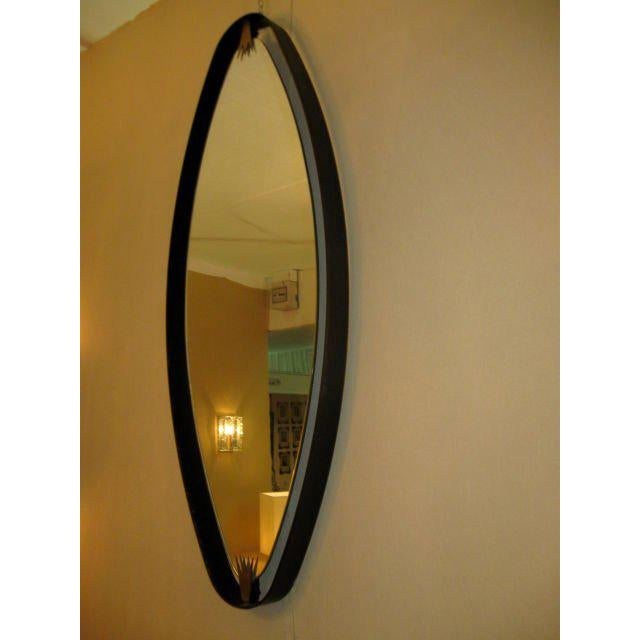 Italian Rare Pair of Italian Oval Mirrors For Sale - Image 3 of 7