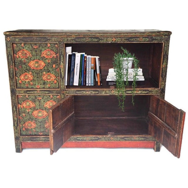 Vintage Chinese Storage Cabinet, Tibetan Style Storage Console with Lotus Pattern and Double Happiness Symbol throughout...