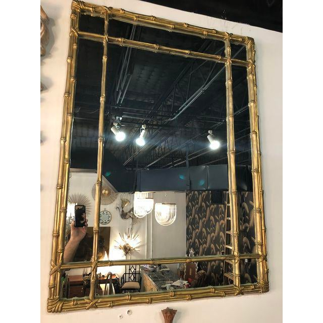 Faux Bamboo Vintage Faux Bamboo Gold Wall Mirror For Sale - Image 7 of 10