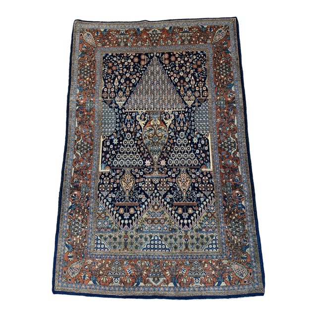 1910s Antique Persian Kashan Rug- 4′ × 6′6″ For Sale