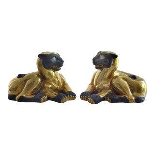 Gilt Glazed Porcelain Exotic Cat Figures - a Pair
