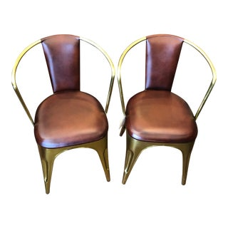 Set of 2 Dovetail Golem Dining Chairs, Brass & Leatherette Industrial Style For Sale
