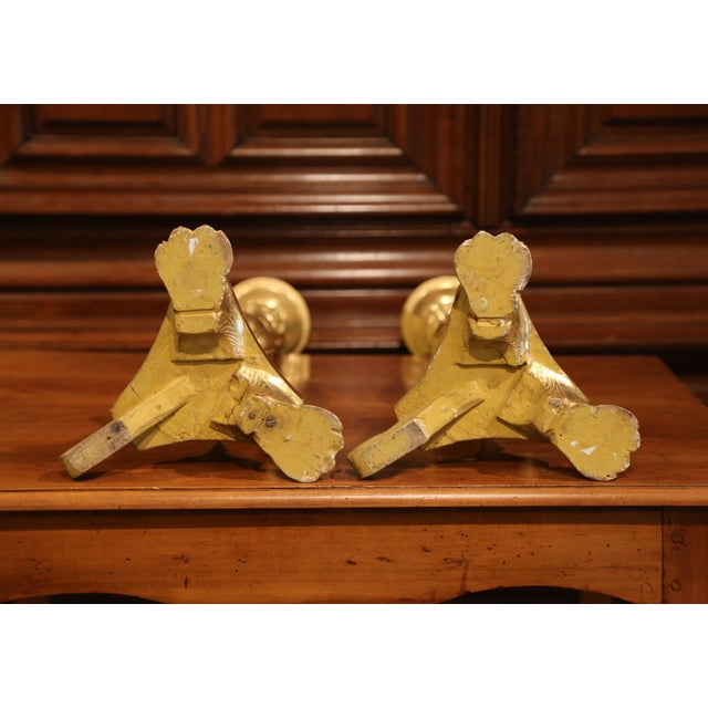 Wood 19th Century Italian Carved Giltwood Cathedral Candlesticks - a Pair For Sale - Image 7 of 8