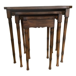 Faux Bamboo Wood Nesting Tables- Set of Three For Sale