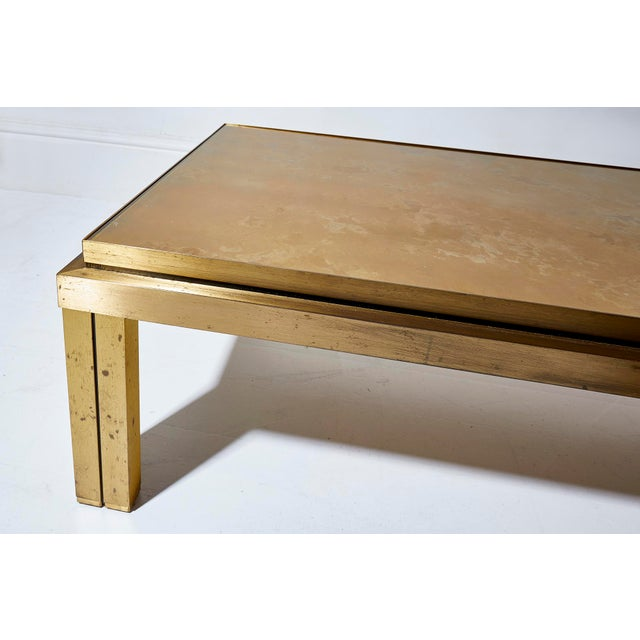 Modern Maison Jansen Brass Lacquered Coffee Table For Sale - Image 3 of 6