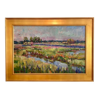 """""""Loxahatchee Wetlands"""" Impressionist Style Oil Painting by James P. Kerr, Framed For Sale"""