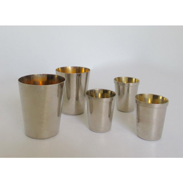 Art Deco Vintage German Gentleman's Silver Plate & Gold Lined Traveling Cordial Cups - 5 Pieces For Sale - Image 3 of 13