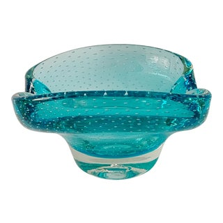 Mid Century Murano Art Glass Turquoise Ashtray With Controlled Bubbles For Sale