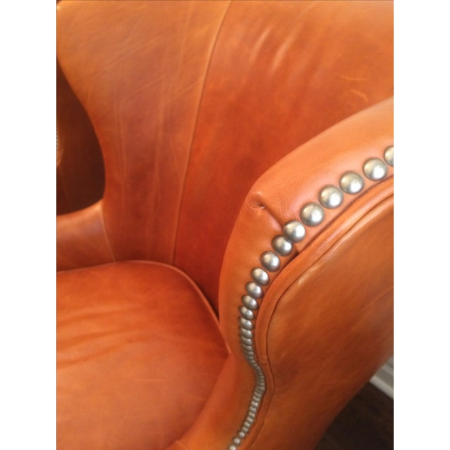Williams Sonoma Chelsea Leather Wing Chairs - Pair - Image 4 of 6