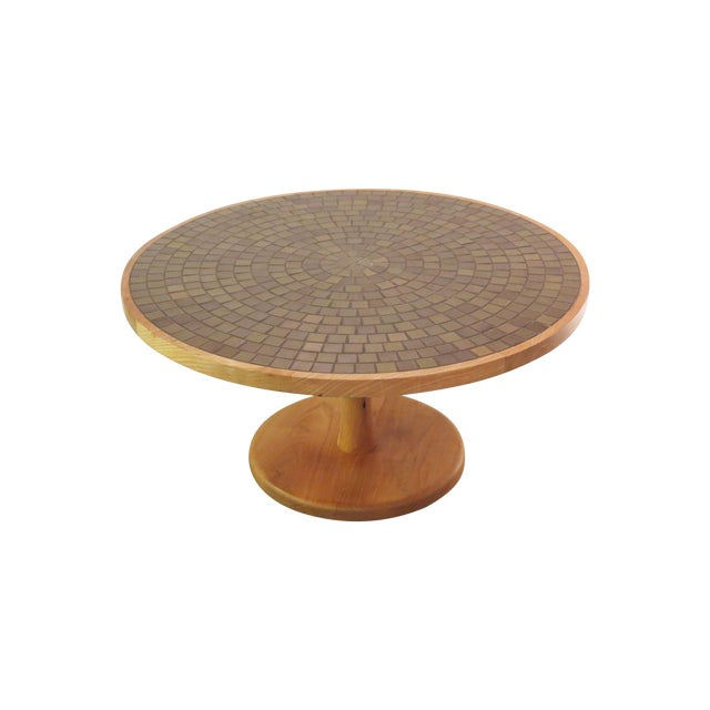 Vintage Round Martz Tile Top Coffee Table - Image 1 of 7