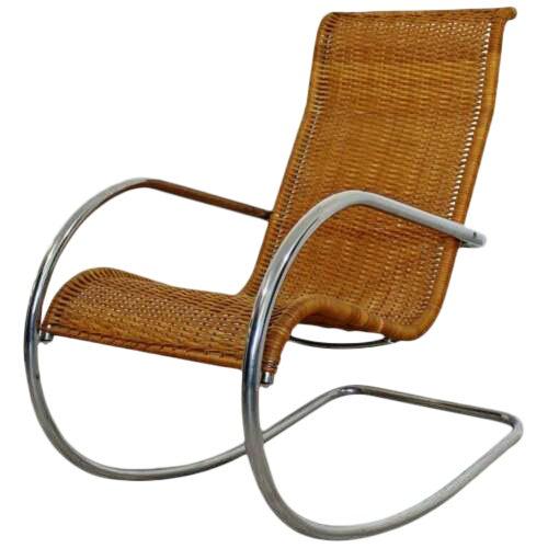 Mid Century Modern Italian Rattan Tubular Chrome Rocker Rocking Chair Italy 70s For Sale