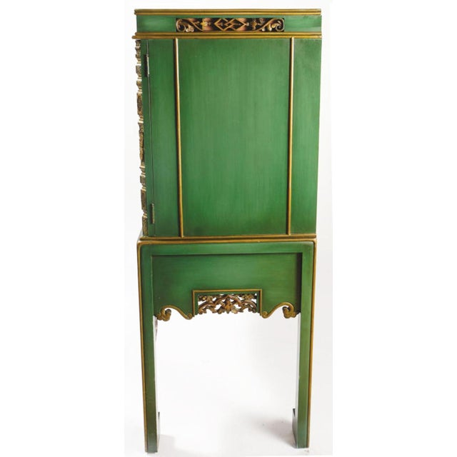 Asian Emerald Green Chinese Cabinet Inset With Gilt Antique Panels For Sale - Image 3 of 11