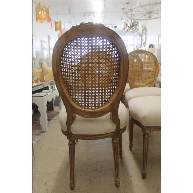 French Louis XVI Gilt Cane Caned Chairs - Set of 6 - Image 3 of 6
