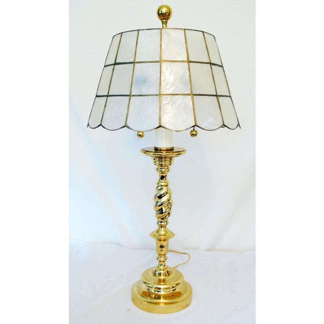 Brass table lamp capiz shell shade chairish brass table lamp capiz shell shade image 2 aloadofball Images