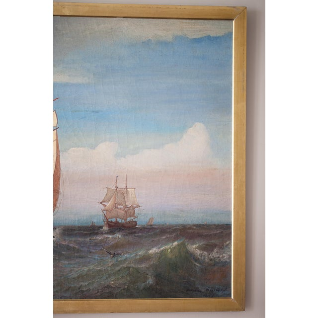 """Illustration """"Regatta on a Choppy Sea"""" Oil Painting on Canvas by Julian O. Davidson, Dated 1877 For Sale - Image 3 of 13"""