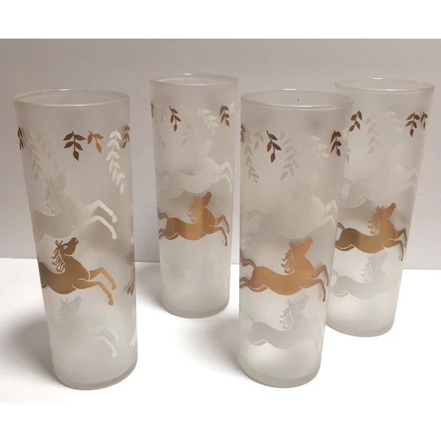 Vintage Mid-Century Gold & White Horses Highball Glasses - Set of 4 - Image 4 of 4