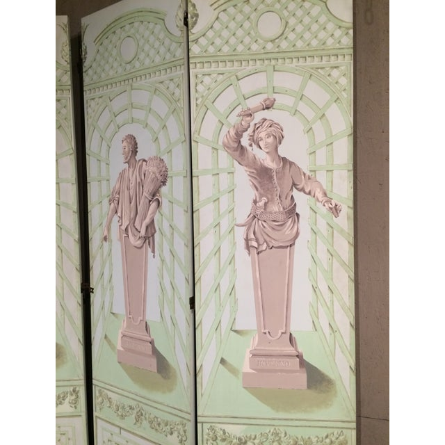 1960s Monumental Hollywood Regency Tromp L'oeil Hand Painted Screen For Sale - Image 5 of 9