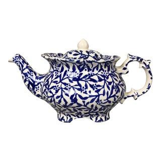 Vintage P&K Blue and White Floral Victoriana Tea Pot For Sale