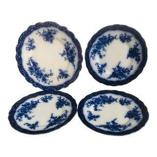20th Century French Country Blue Transferware Plates and Platter Set - 4 Pieces For Sale