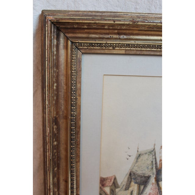 Mid 19th Century Original Watercolor by Henri Schafer For Sale - Image 5 of 5