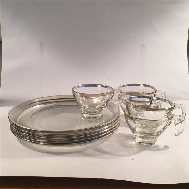 Set of five mid century modern Dorothy Thorpe snack sets. Includes 5 plates and 5 cups. Missing some silver but not...