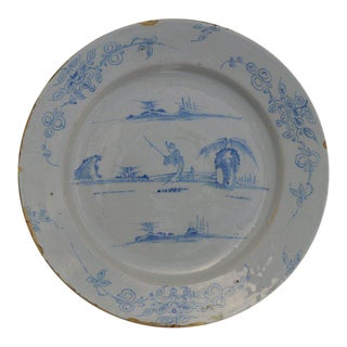 Delft Charger, Likely English, early 18th C. For Sale