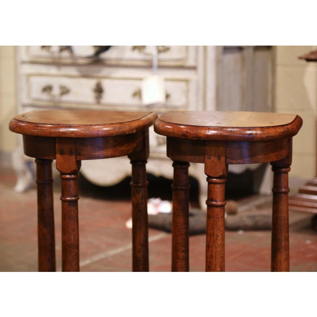 Late 19th Century 19th Century Louis XIII Oak Three-Leg Demilune Side Tables - a Pair For Sale - Image 5 of 9