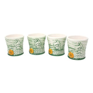 1990's Clipper Ship Cutty Sark Old Fashioned Ceramic Whiskey Glasses - Set of 4 For Sale