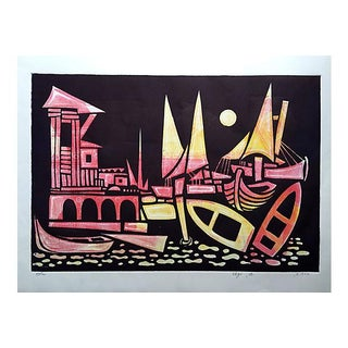 Abstract Venetian Boats Print by Amram Ebgi