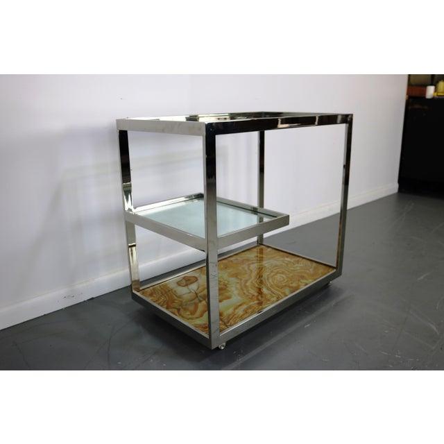 Mid-Century Chrome Glass & Onyx Bar Cart - Image 6 of 8