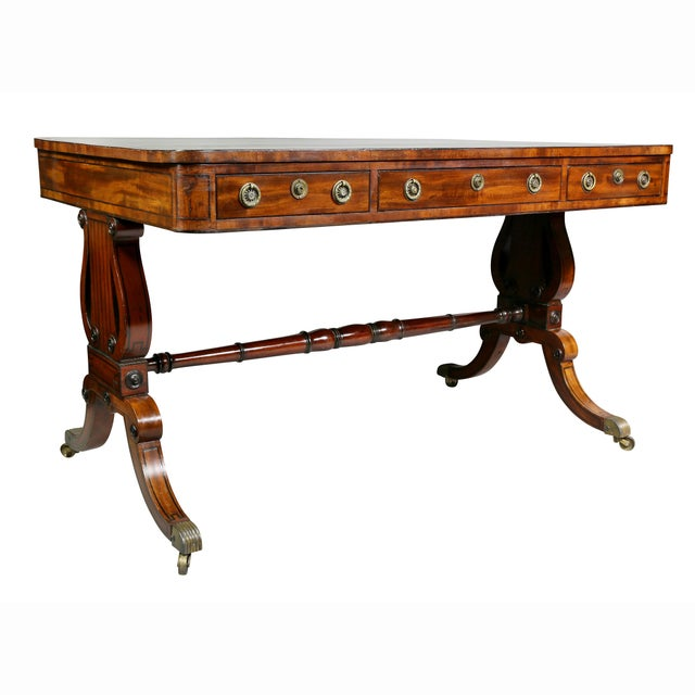 Fine Regency Mahogany and Ebony Inlaid Writing Table For Sale - Image 13 of 13