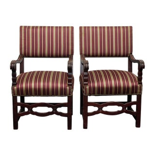 Early 20th Century Vintage Striped Chairs- a Pair For Sale