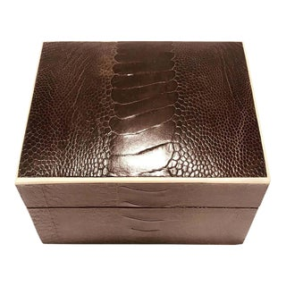 Vintage R&Y Augousti Decorative Box in Brown Ostrich Leather and Bone, c. 2000 For Sale
