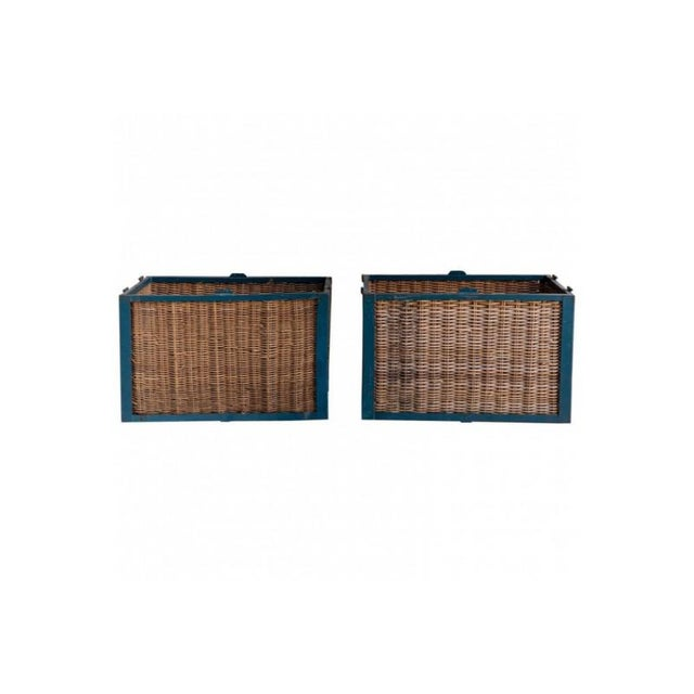 Pair of Large French Industrial Wicker Baskets For Sale - Image 11 of 11