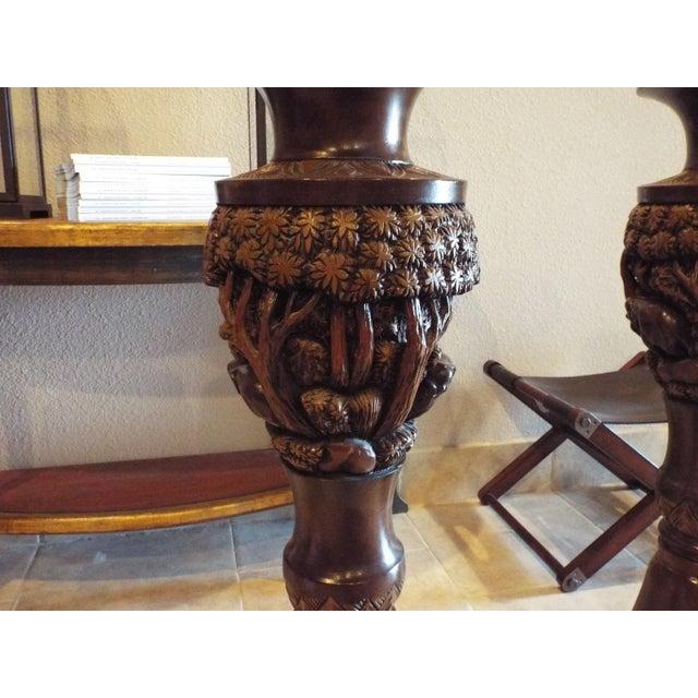 Thai Carved Wood Vases - Pair - Image 3 of 9