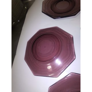 1940s Octagonal Glass Purple Plates - Set of 8 Preview