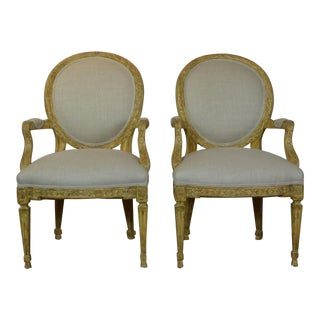 Late 20th Century Louis XVI Style Arm Chairs- A Pair For Sale