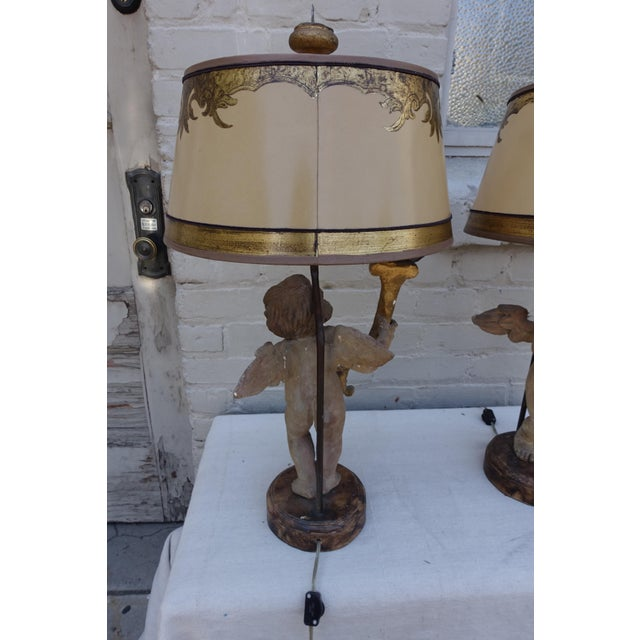 Early 19th Century Pair of 19th C. Italian Cherub Lamps W/ Parchment Shades For Sale - Image 5 of 7