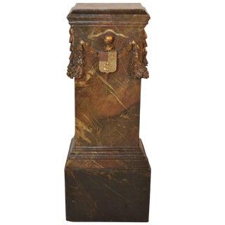 """19th Century Faux Marble Pedestal With """"Fleur De Lis"""" Coat of Arms For Sale"""