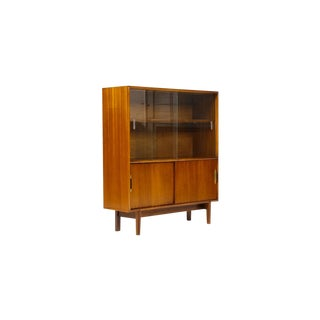 Vintage Mid Century Danish Modern Mahogany Display Cabinet For Sale