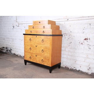 Baker Furniture Biedermeier Burl Wood and Primavera Highboy Chest of Drawers Preview
