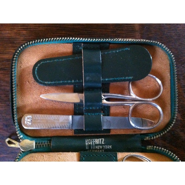 Vintage Hoffritz Germany Nyc Gentleman's Leather Grooming Travel Kit For Sale - Image 4 of 9