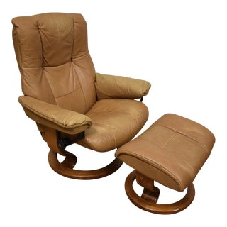 Beige Ekornes Reclining Lounge Chair & Ottoman - A Pair