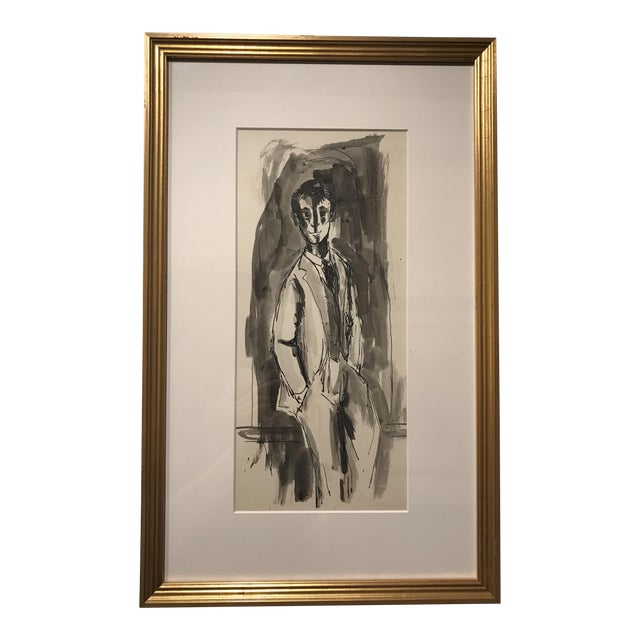 """Circa 1950 """"Portrait of Dapper Young Man"""" Watercolor Painting For Sale"""