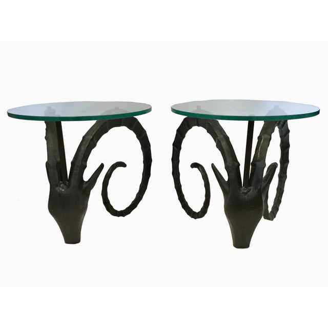20th Century Boho Chic Aluminum Ram Side Tables - a Pair For Sale - Image 4 of 7