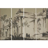 Image of Vintage French Wallpaper Screen Circa 1950 For Sale