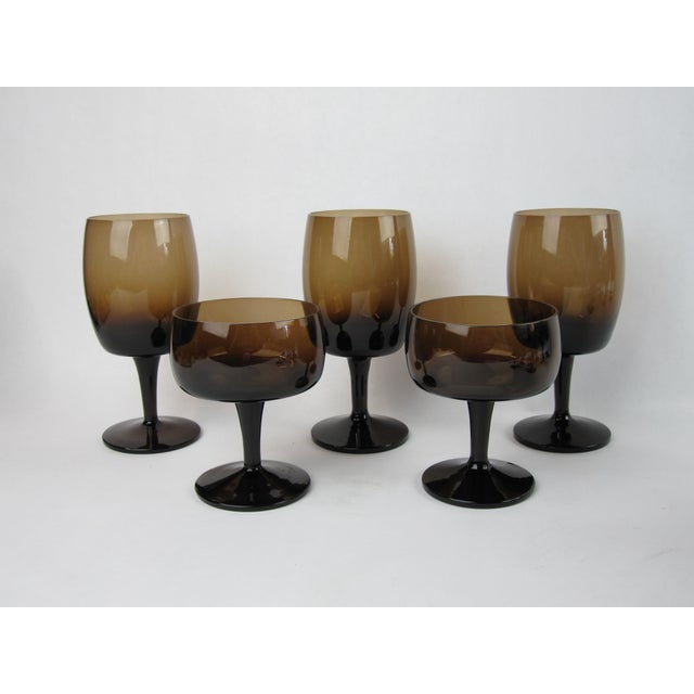 Vintage Smoked Brown Coupes & Goblets - Set of 21 For Sale - Image 5 of 8